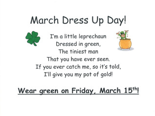 Green Dress Up Day - Friday, 3/15/19
