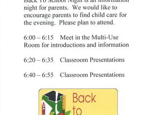 Back to School Night - Thursday, 8/22