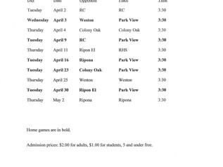 Boys' Volleyball Game Schedule