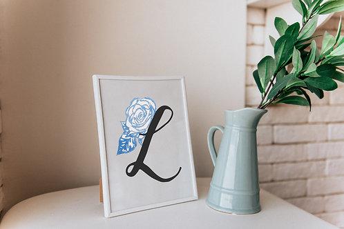 Blue Roses Initial Print