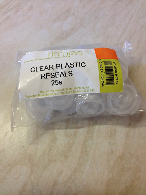 Clear Plastic Reseals for Wine or Beer bottles (25's)