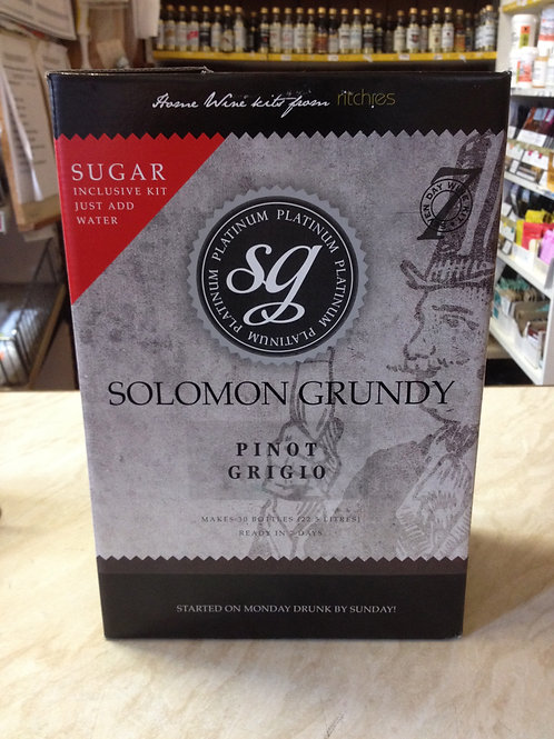 Solomon Grundy Platinum Pinot Grigio 30 bottle kit