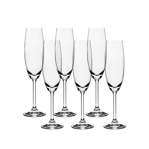 Jogo de 6 taças para Champanhe em Cristal Ecológico 220ml