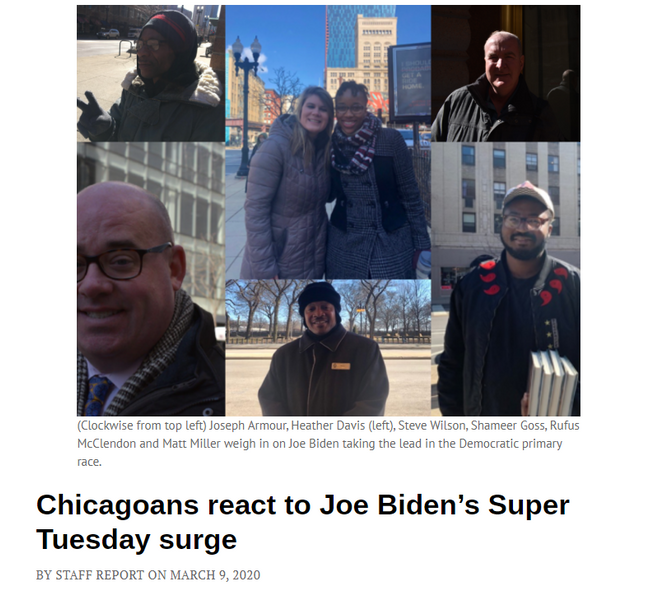 """Chicagoans React to Joe Biden's Super Tuesday Surge"" - Chicago Talks"