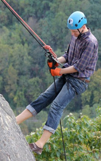 rock climber in the New River Gorge, West Virginia