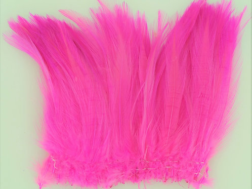 "Fluorescent Pink-Custom Neck Hackle 4-6"""