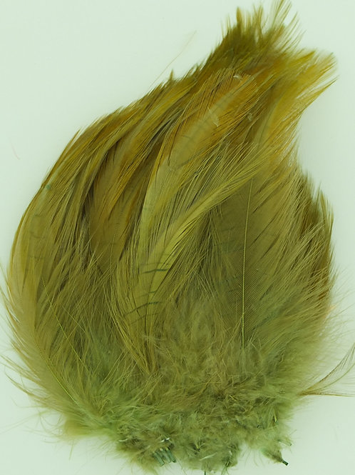 Gold Green Olive-Custom Neck Hackle 4-6""