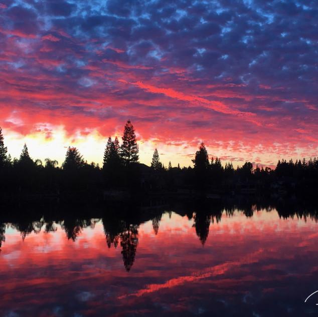 Sunrise over a Fresno Lake
