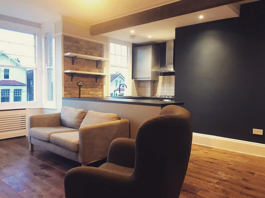 Open plan with structural beam