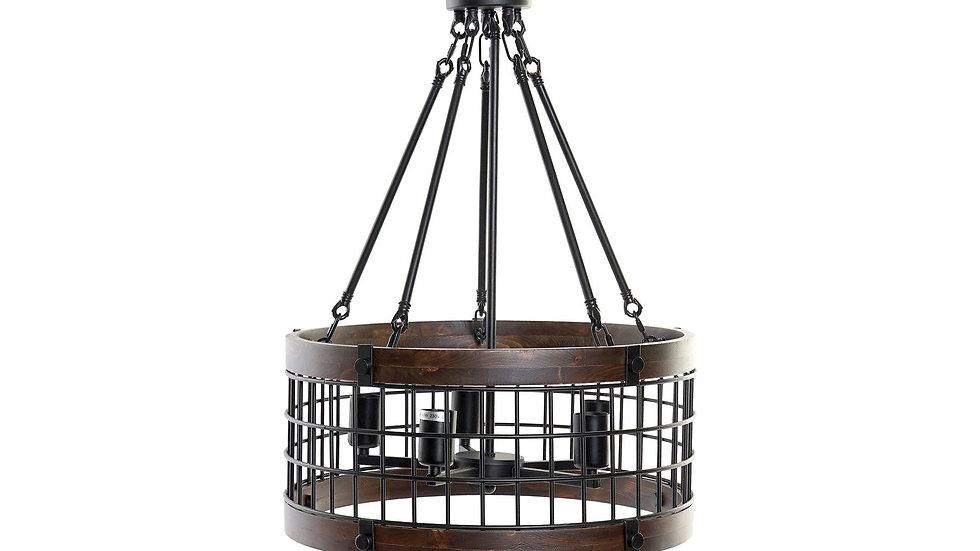LAMPARA TECHO METAL MADERA 50X50X135