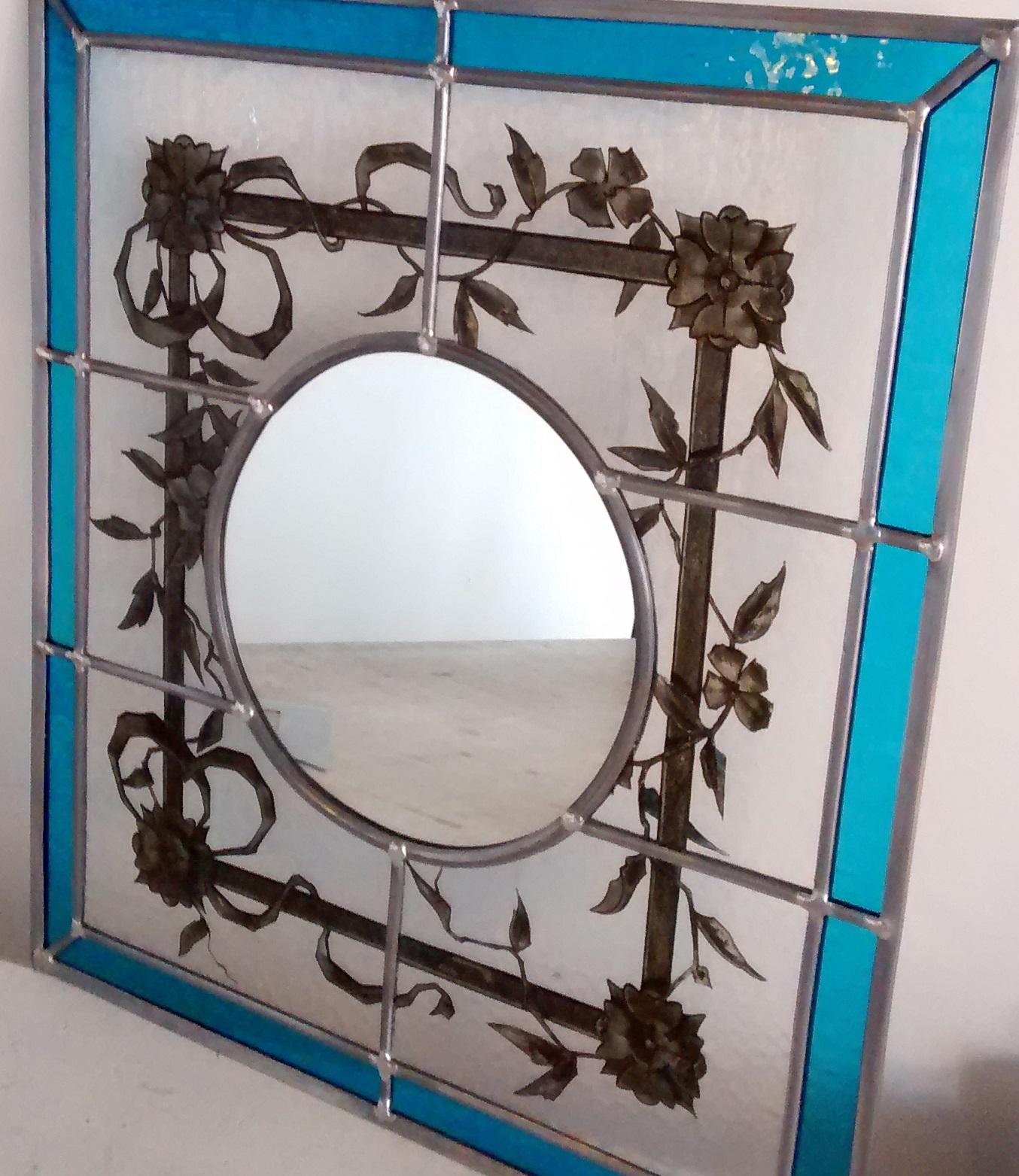 Miroir vitrail ancien