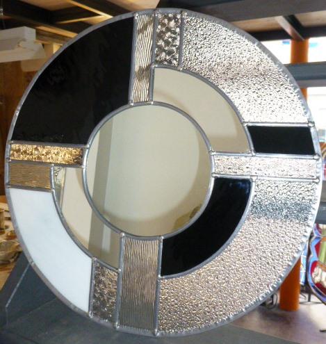 Miroir vitrail Art déco rond