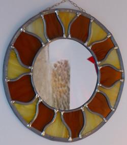 Miroir vitrail rond Soleil