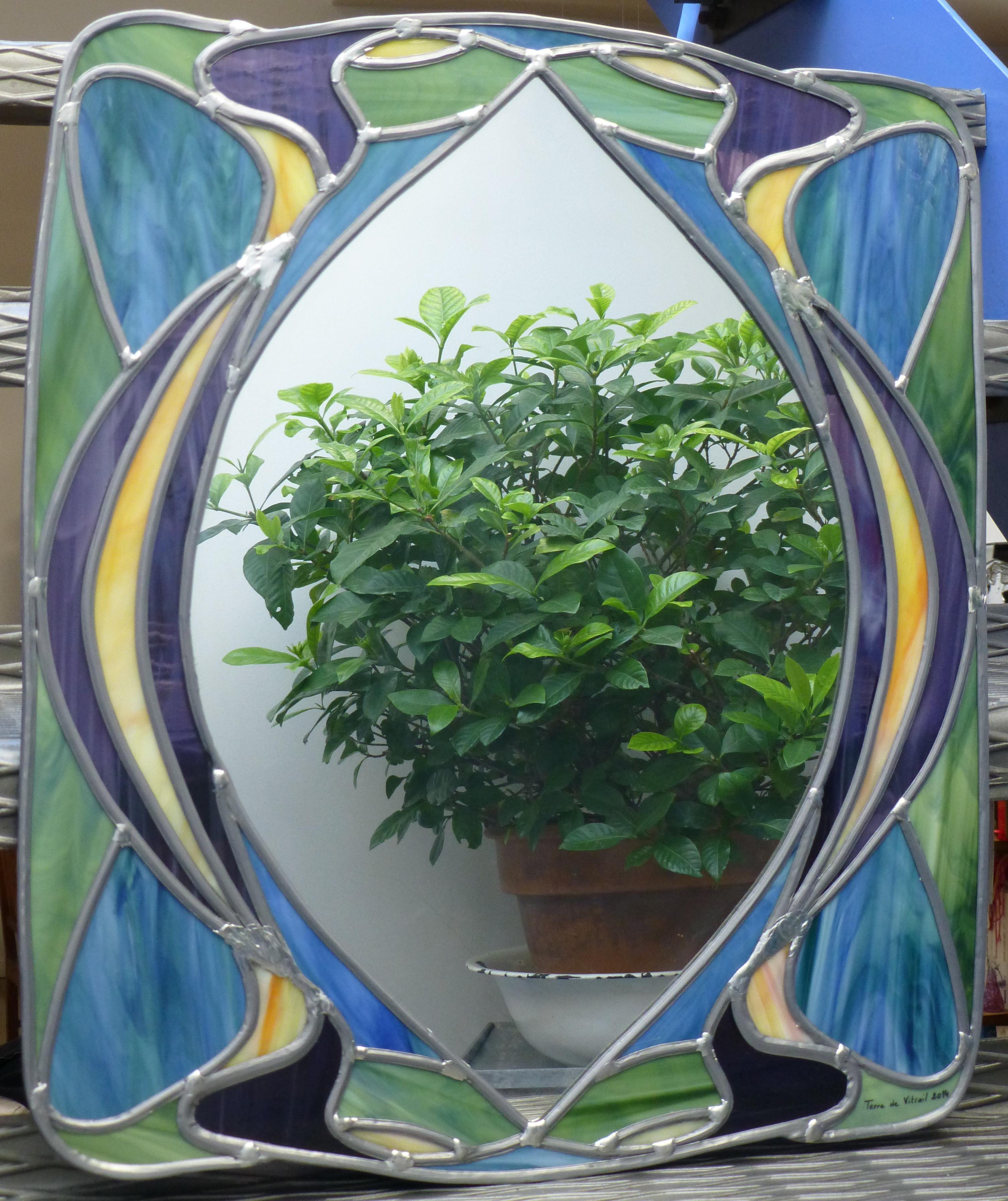 Miroir vitrail Art nouveau Volutes
