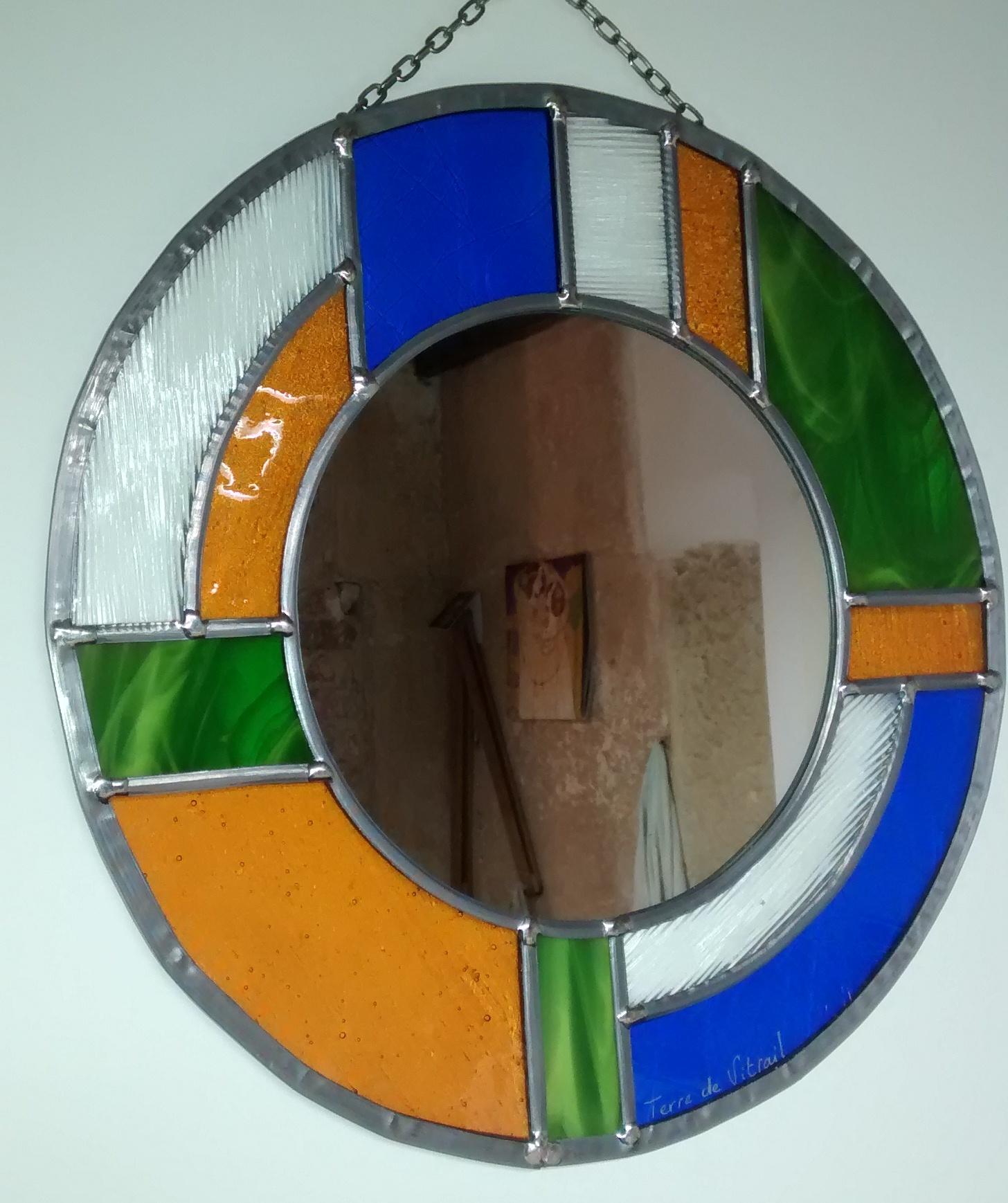 Miroir vitrail Art déco rond couleur