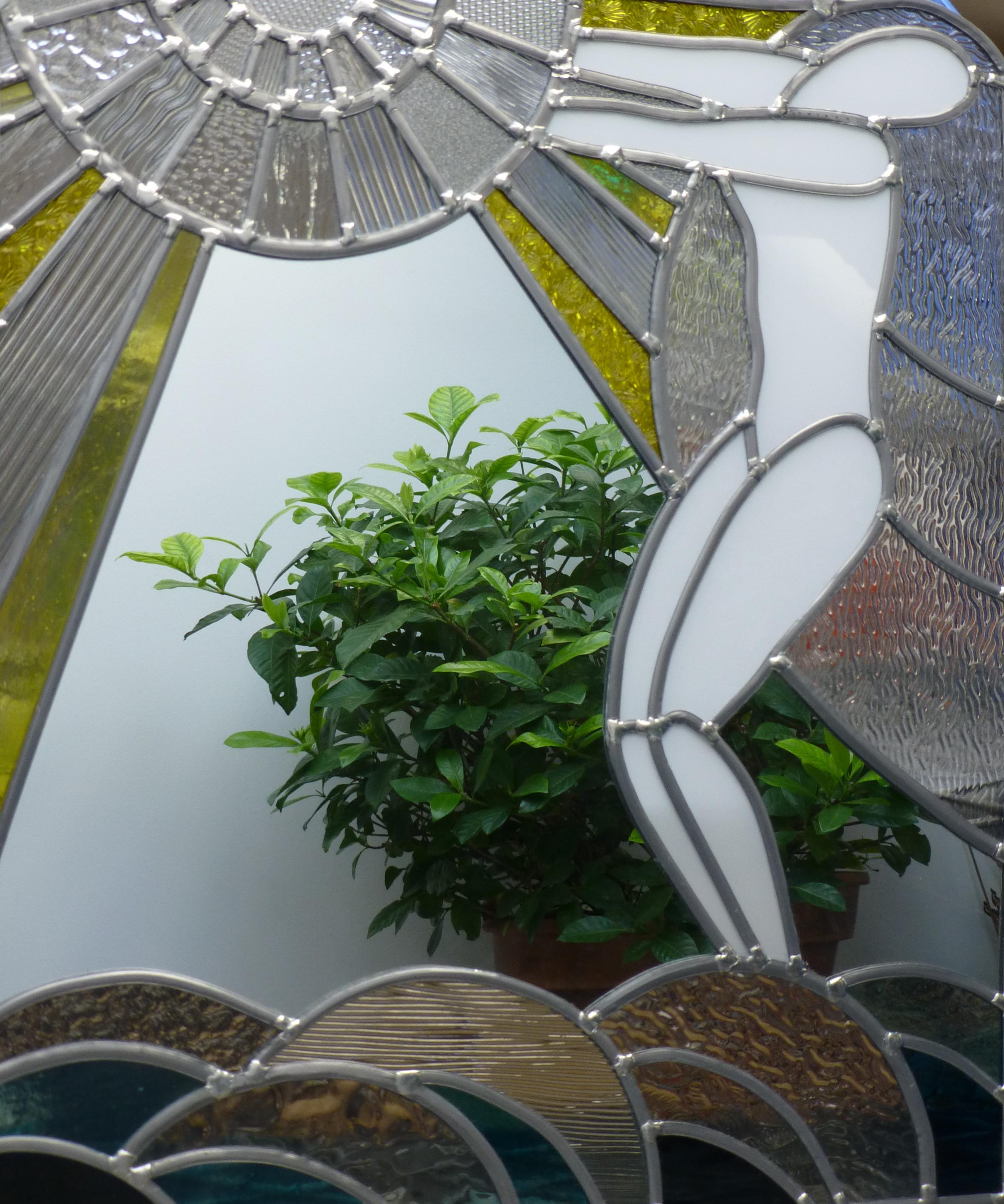 Miroir vitrail Art déco Baigneuse