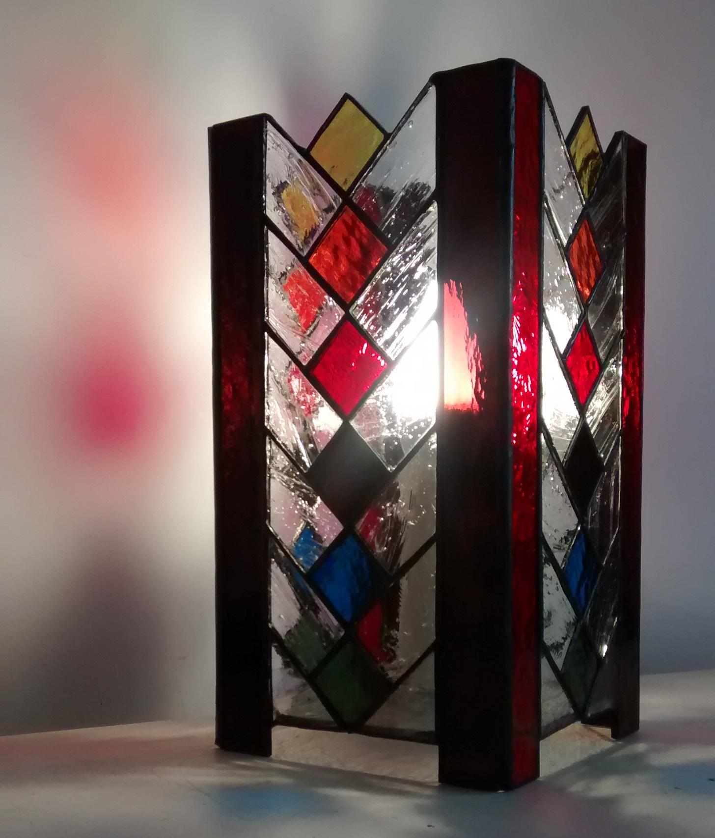 Lampe vitrail Tiffany Arlequin