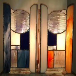 Lampes vitrail Mer au couchant