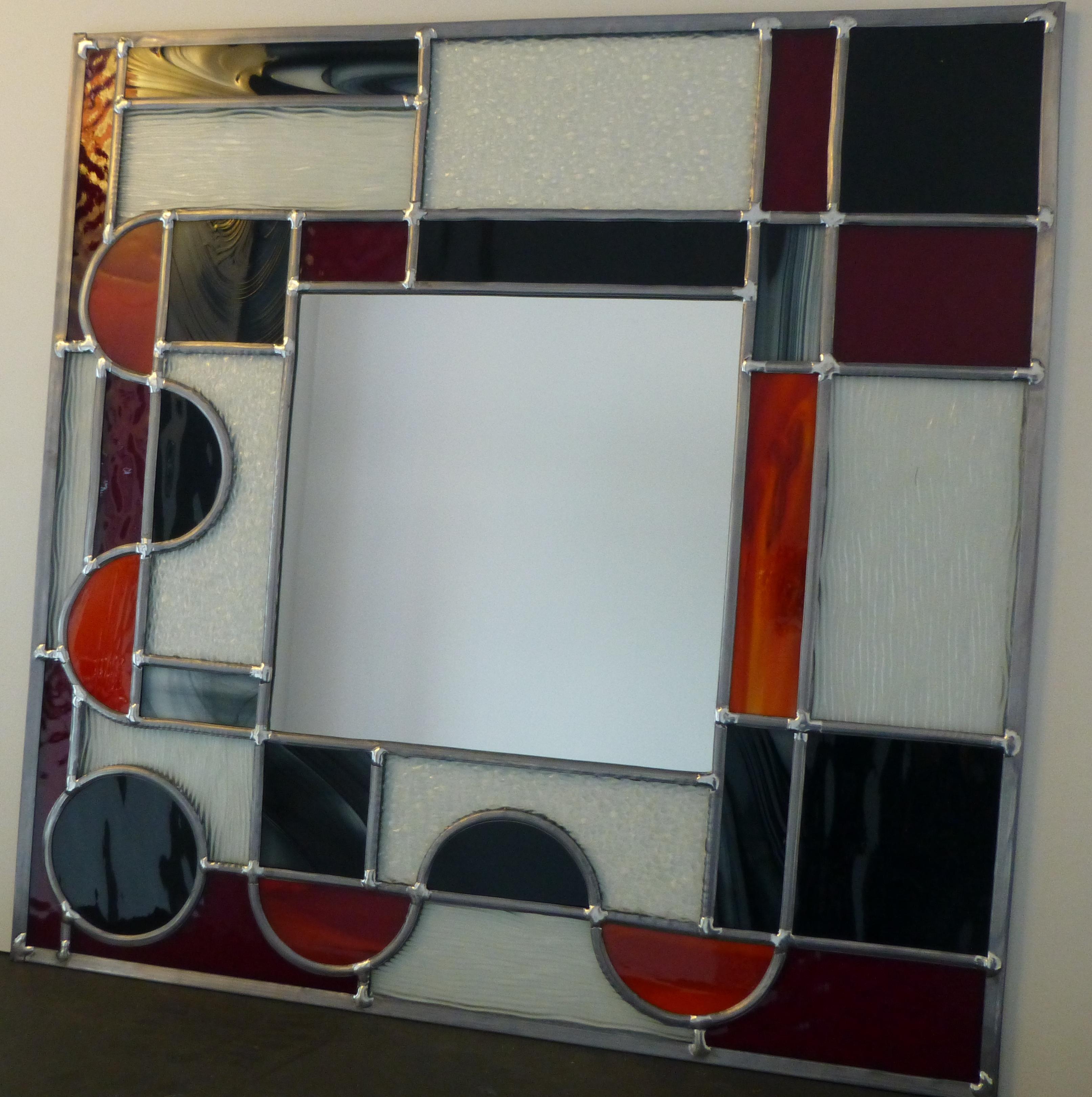 Miroir vitrail Art déco carré