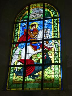 Vitrail Saint Georges terrassant le dragon