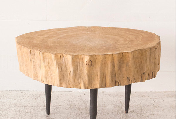 Wood round low table