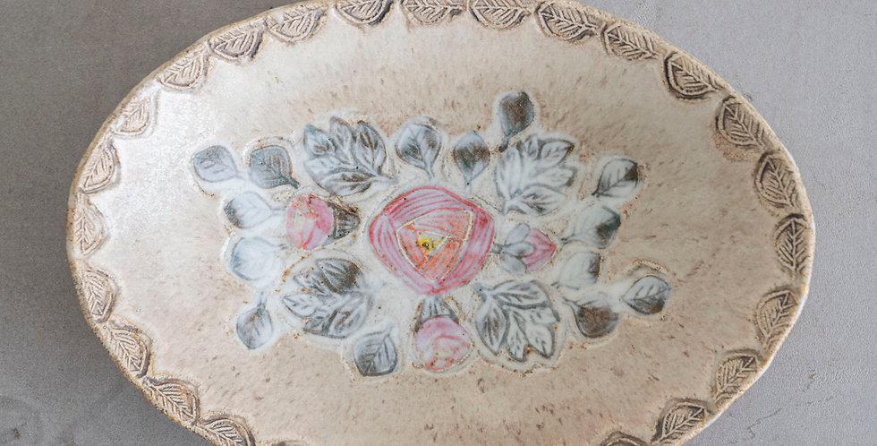 本田あつみ_ホイアン 楕円鉢 バラ紋 ピンク【入荷数1点】