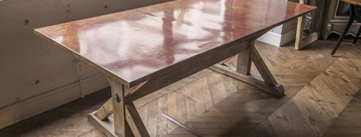 Copper top dining table
