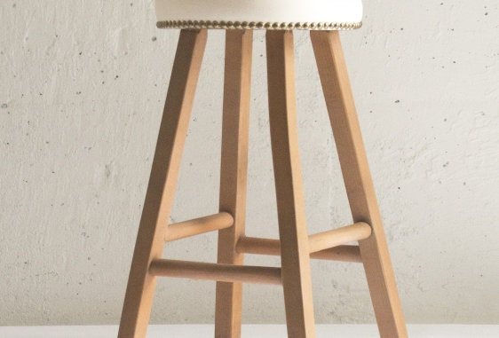 Wood×white colored stool