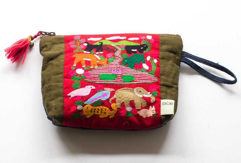 Laos Hmong Embroidery Pouch | モン族アニマル刺繍と刺し子のポーチ