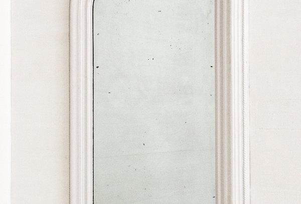 Antique mirror with white frame