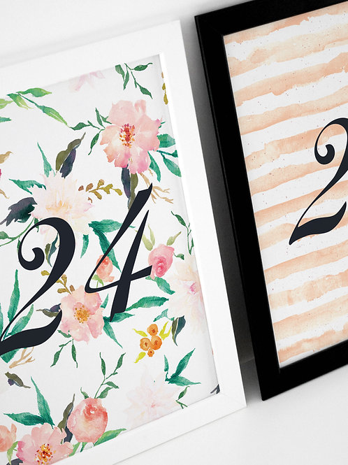 Autumn Florals Table Numbers