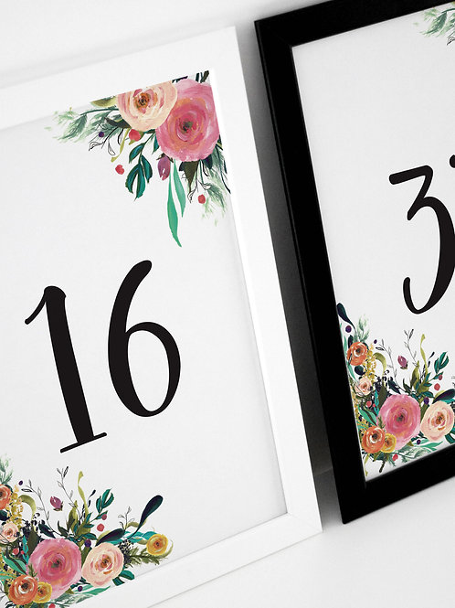Colourful Place Table Numbers