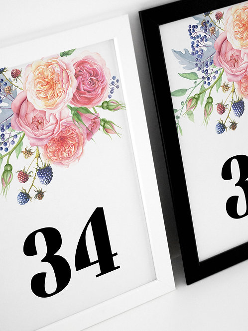 Festive Floral Table Numbers