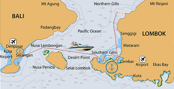 Ferry Transit Map Bali to Gili Islands P