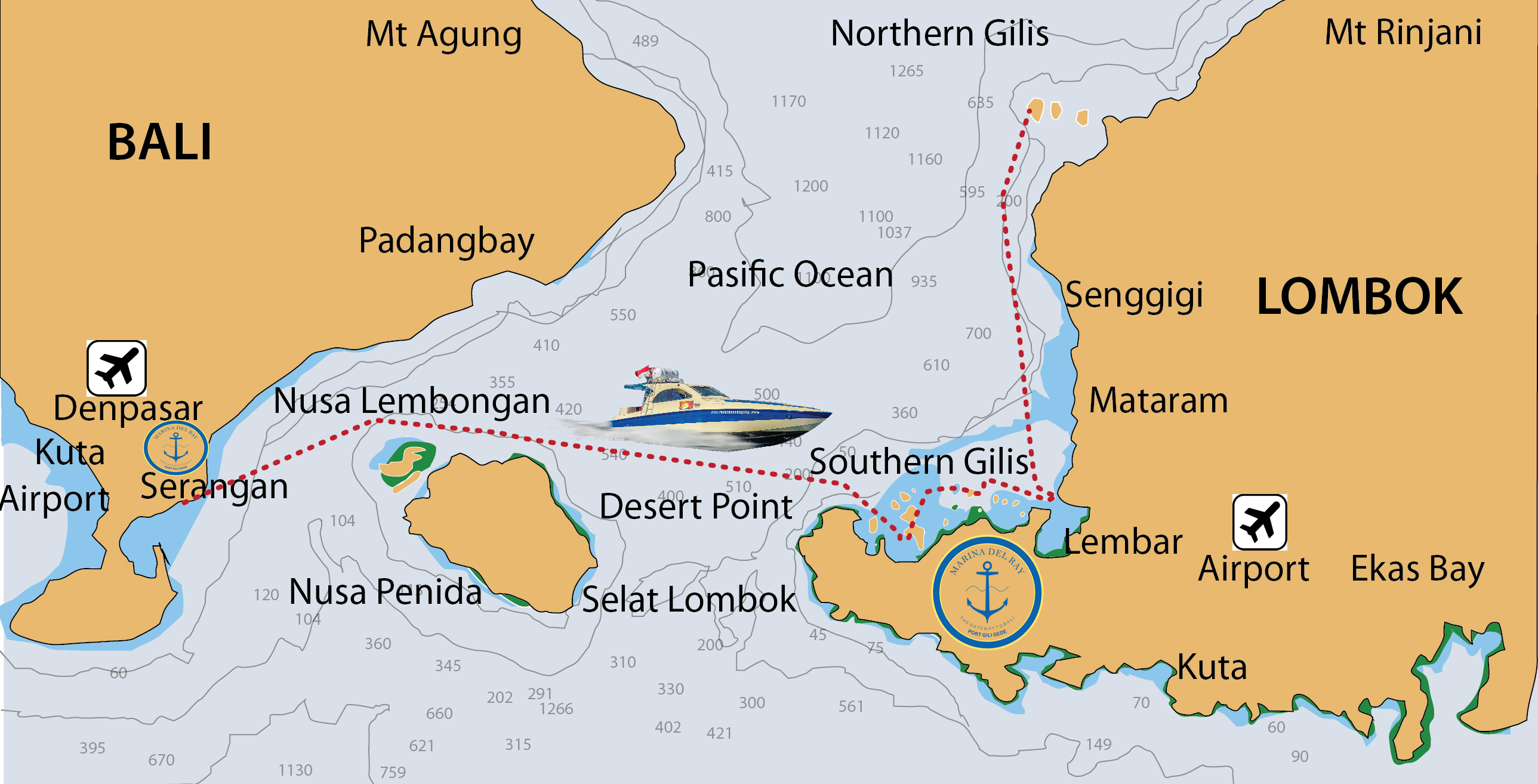 Gili Gede Ferry Service Route Bali Port