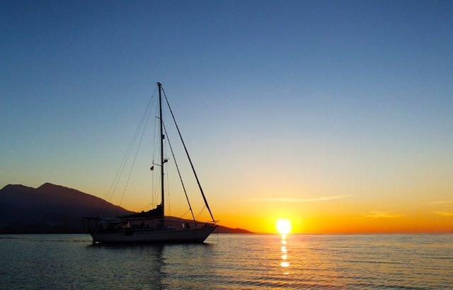 Sunset on the Basilea yacht charter