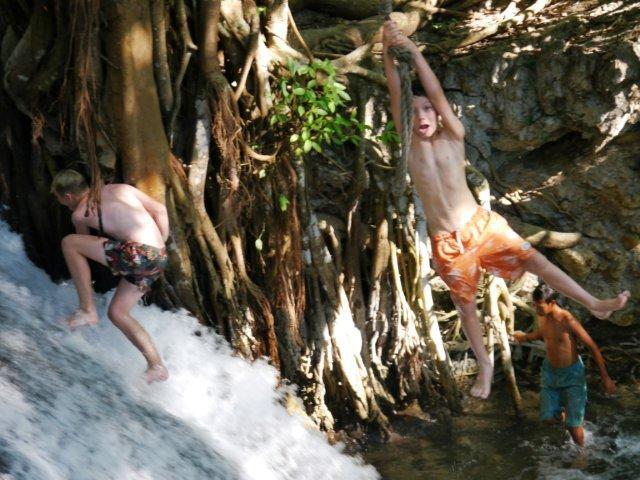 Water Fall Kids Having Fun.