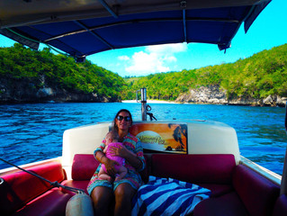 Jen and the Captains 8 month old Daughter on Gili Gede Fast Boat