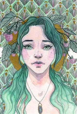 Self Portrait Green Hair and Raspberries