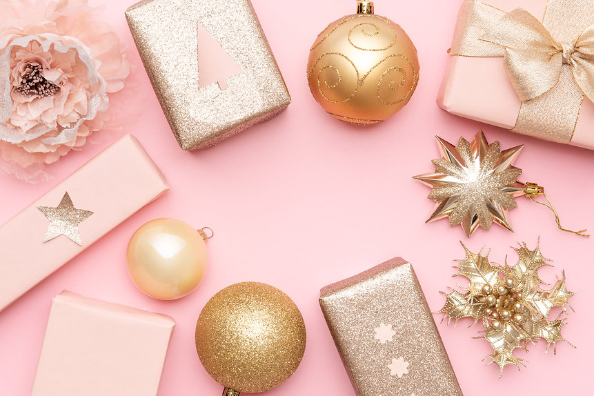 Pink and gold christmas gifts isolated o