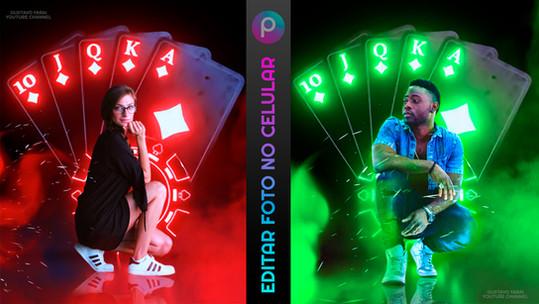 Como editar foto no celular | Tutorial PicsArt app gratuito | Efeito Baralho Neon & Reflexo no chão