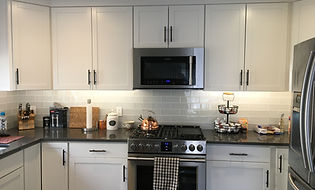 White kitchen subway tile glass tile