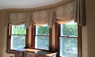 Mock Romans in Bay window, Abington PA, roman shade, curtains