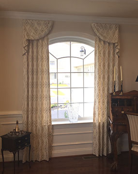 swag and drapery, arch window treatment, embroidered fabric, beautiful design