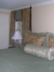 curtains, shades, shams, pillows, bedspread