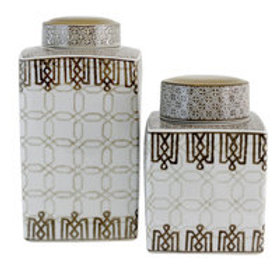 Chocolate, taupe and white jars set of 2