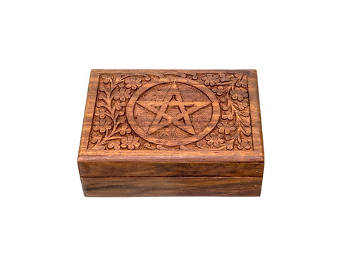 Natural Wooden Tarot Card Box with Carved Pentacle Symbol for Protection