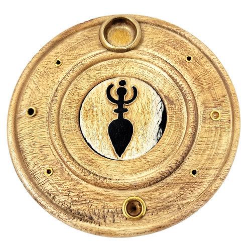 Goddess Wooden Incense Holder for Incense Sticks or Cones