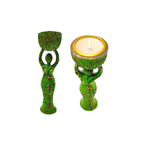 Nature Goddess w/Tea Light Candle Holder - Magickal Nature Energy Into Your Home