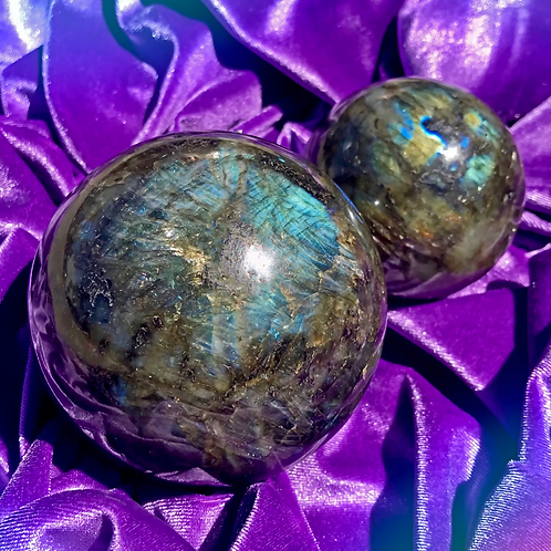 Labradorite New Moon Wishing Spheres For Intentions And 3rd Eye Vision